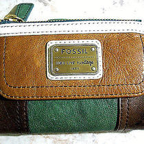 New Fossil Emory Color Block Multi Function Leather Green Multi Wallet Photo