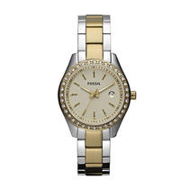 New Fossil Es3106 Stainless Steel Analog Gold Dial Women's Watch Photo