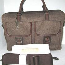 New Fossil Estate Herringbone Top Zip Work Bag Briefcase Laptop Computer Nwt248 Photo