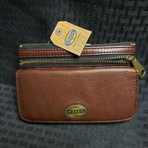 New Fossil Explorer Leather Clutch Wallet Espresso Brown Photo