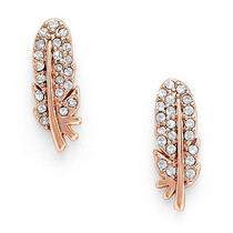 New Fossil Feather Studs Rose Gold Earring Ja6486791 Photo