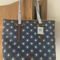 New Fossil Felicity Tote Beautiful Navy and White Colors Nwt Brown Trim Photo