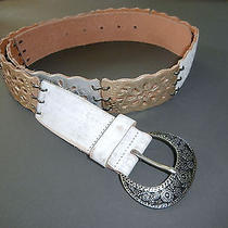 New Fossil Floral Stations Metallic Multi Leather Belt Sz L Silver-Gold-White Photo
