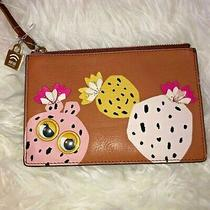 New Fossil Genuine Leather Tan Pink Yellow Top Zipper Rfid Wristlet Pouch Wallet Photo