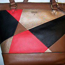 New Fossil Gift Pw Red Gold Multi on Brown Leather Shopper- Small 168 Photo