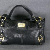 New Fossil Ginger Black Glazed Leather Zb4463 Nwot Satchel Tote Handbag 168.00 Photo