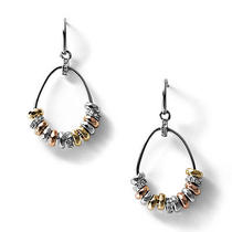 New Fossil Glitz Beaded Hoops Earring Ja5838998 Photo