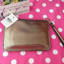 New Fossil Gold Metallic  Cell Phone Case Wristlet Wallet Clutch Cosmetic Case Photo