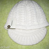 New Fossil Hat Visor Beanie Ladies Osfa S M L 40 Retail Pristine Off White Photo