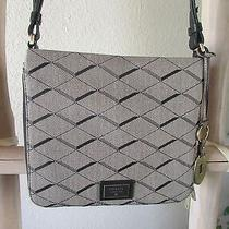 New Fossil Issue No 1954 Gray Canvas W Blk Leather Trim Slim Expandable X-Body Photo