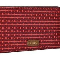 New Fossil Jayda Zip Clutch Wallet Red Photo