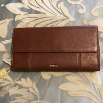 New Fossil Jori Rfid Flap Clutch Leather Wallet Medium Brown With Dust Bag Nwt Photo