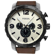New Fossil Jr1390 Nate Brown Leather Men's Watch Photo