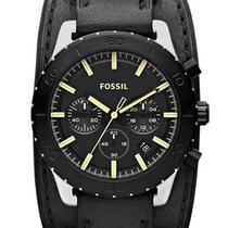 New Fossil Jr1394 Keaton Leather Black Men's Watch Photo