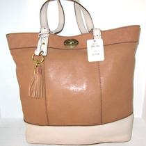 New Fossil Jules Camel Leather Light Beige Trim Tote Bag Light Weight Nwt 198 Photo