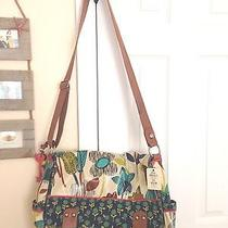 New Fossil Key Per Blue Floral Messenger Bag Huge Holds Laptop Books and More Photo