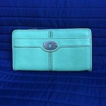 New Fossil Key-Per Green Pebbled Leather Zip Around Wallet Clutch  Photo