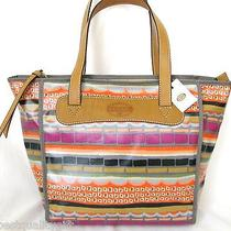 New Fossil Keyper Bright Multi-Color Stripe Coated Canvas Shopperhand Bagpurse Photo