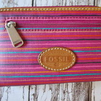 New Fossil Keyper Iphone Case Zip Clutch Wallet Bag Leather Pink Stripes Photo