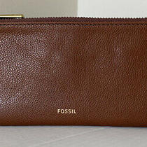 New Fossil Lainie Clutch Leather Wallet Medium Brown Photo
