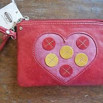 New Fossil Leather Candy Red With Pink Heart Wristlet Sl2324388  Photo