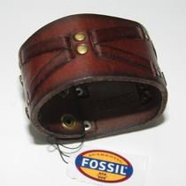 New Fossil Leather Cuff Bracelet Mens Brown Snap Closure Studded Bronze Nwt Photo