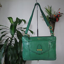 New Fossil Leather Like Style Olive Zip Top Crossbody Bag Photo