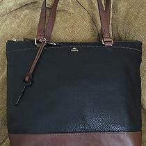 New Fossil Leather Mom Day Lg Shopper/tote( Black/brown  Photo