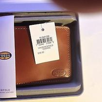 New Fossil Leather Vaughn Bifold Wallet - Cognac Photo