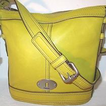 New Fossil Maddox Crossbody Mineral Yellow Leather Shoulder Bag Nwt 158 Photo