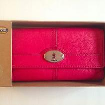 New Fossil Marlow Flap Clutch Leather Wallet Flamingo Pink Mrsp 65 Photo
