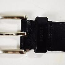 New Fossil Men's Black Silver-Buckle Genuine Leather Dress Belt Size 34/85cm Photo