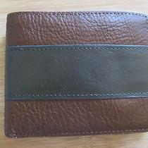 New Fossil Men's Charles Wallet Id Bifold Leather Cognac Brown Green Stripe Photo