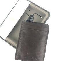 New Fossil Mens Neel Magnetic Card Case Brown Leather With Clip Photo