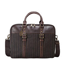 New Fossil Mens Estate Simple Work Bag (Brown Stripe) Mbg9056888 Photo