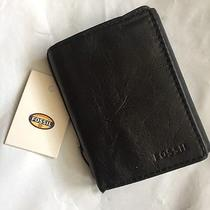 New Fossil Mens Ingram Extra Capacity Trifold Wallet Black One Size Gift  Photo