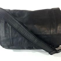 New Fossil Messenger Laptop Briefcase Bag Black Pebbled Leather Cross Body Photo