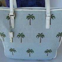 New  Fossil  Palm Tree Tote Shoulder Bag Purse Blue White Check/ Leather Trim Photo