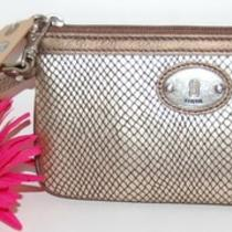 New Fossil Perfect Khaki Metallic Leather Wristlet Wallet Iphone 4s 5 Clutch Photo
