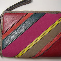 New Fossil Perfect Pw Multi Stripe Wristlet Wallet - Fits Iphones Photo
