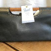 New Fossil Purse Adorable Black With Brown Leather Braid Handle Great Bar Bag Photo