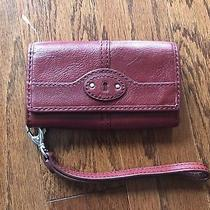 New Fossil Red Leather Clutch Wristlet Organizer Purse Phone Photo