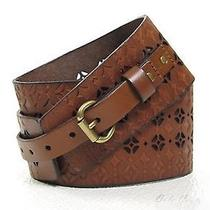New Fossil Signature Waist Chestnut Belt Size Large Brown Leather 3 Inch  Photo
