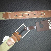 New Fossil Simon Khaki Leather/textile  Men's Belts 1-1/4