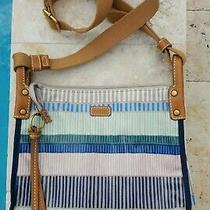 New Fossil Striped Multi-Color Crossbody Bag Purse Adjustable Strap Issue 954 Photo