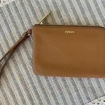 New Fossil Tan Light Brown Leather Tiegan Zip Small Wallet Clutch Wristlet Photo