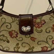 New Fossil Tapestry & Leather Satchel Shoulder Handbag Purse Bag Photo