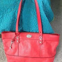 New Fossil Tote Bag Red Leather Carry All Handbag Tote Photo