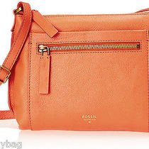 New Fossil Vickery All Leather Small Crossbody Bag- Monarch Orange Photo