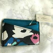 New Fossil Womens Black Floral Leather Card Holder Case Photo